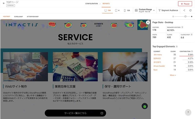 ZOHO PageSenseのヒートマップ例